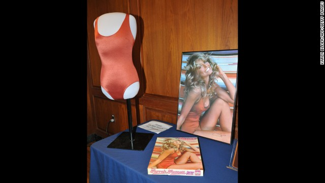 To many, Fawcett will always be best known for this pinup poster, which sold a reputed 12 million copies after its release in 1976. The poster and the red swimsuit she wore were enshrined in the Smithsonian Museum in February 2011.