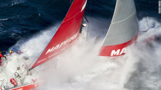 "A spectacular offshore picture taken of Spanish boat Desafío Mapfre near Portugal during February's bid to break the Atlantic Ocean crossing record along the ""Route of Discovery"" traveled by Christopher Columbus in 1492."