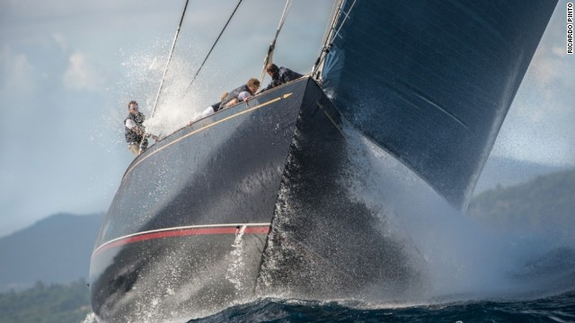 A glorious blue sky is almost entirely filled by this monstrous 129-foot yacht, with its hard-working crew toiling on a big wave on an upwind leg during the Les Voiles de Saint Tropez race, which ended October 6.