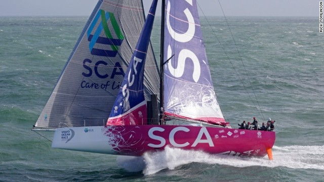 "Photographer Rick Tomlinson, snapping the all-female crew of Team SCA's ocean racing venture, described it as a ""photo session with many good shots, it was hard to chose which one to enter into the competition."""