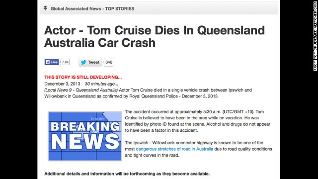 The website fakeawish.com has been at the heart of several celebrity death hoaxes. It lets users insert the names of people, including celebrities, into fake news stories, including this one about a fatal car crash.