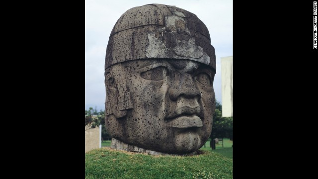 The Olmec civilization is known for colossal stone heads like this one seen at Parque Museo La Venta in Villahermosa, Mexico.