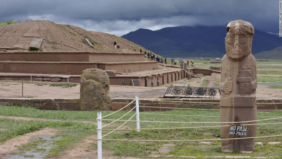The archaeological site of Tiwanaku was built at 13,000 feet above sea level in the Altiplano of the Bolivian Andes.
