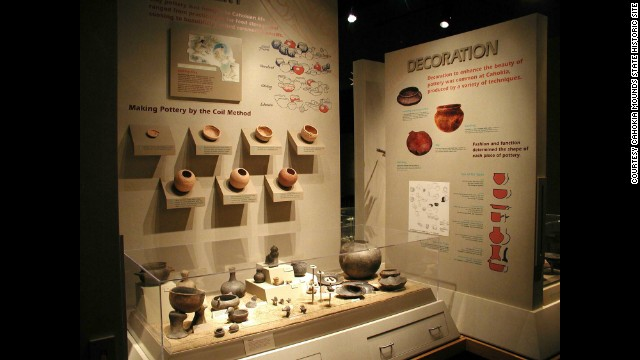 A pottery exhibit displays some of the items found in the mounds.