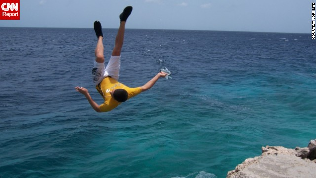 """Lori Lite, founder of <a href='http://www.stressfreekids.com/' target='_blank'>Stress Free Kids, </a>encourages her teens to use visualization techniques to relax. Here, her son is seen jumping off a cliff, the result, she says, of """"visualizing and affirming that 'I can do it' and expecting and visualizing a positive outcome."""""""