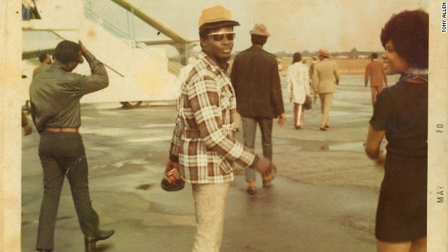 Allen played with Fela for 15 years before leaving the Africa 70 group in 1978. He then started his own bands in Nigeria and in 1985 moved to France where he remains to this day.. Pictured, Allen with the Koola Lobitos dancer Dele in Liberia in 1970.