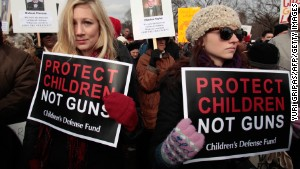 Thousands marched in Washington for gun control in January last year after the Sandy Hook school murders.