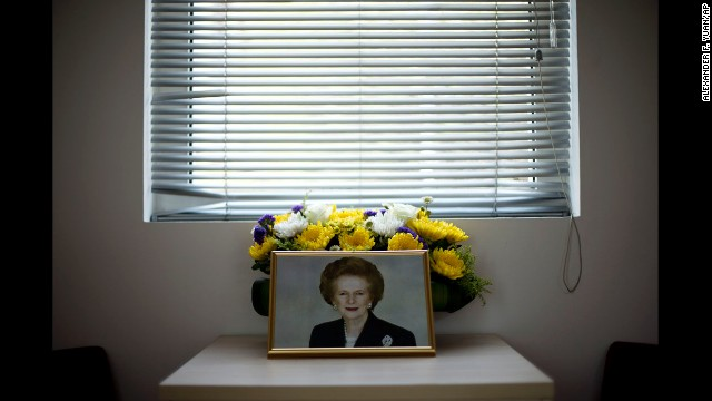 <strong>April 9:</strong> A portrait of former British Prime Minister Margaret Thatcher is arranged in a condolence room at the British Embassy in Beijing. Thatcher died the day before at the age of 87.