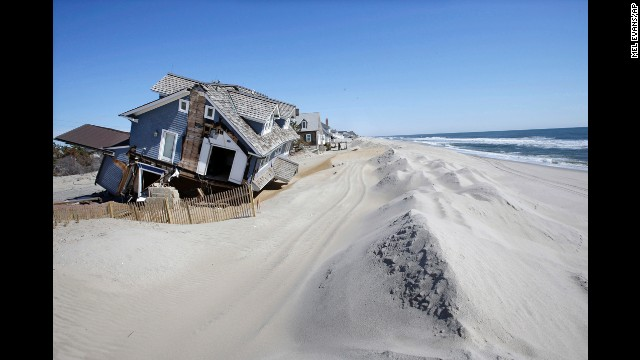 <strong>April 25:</strong> Homes severely damaged by Hurricane Sandy are seen in Mantoloking, New Jersey, six months after Sandy devastated the Jersey shore and New York City and pounded coastal areas of New England.
