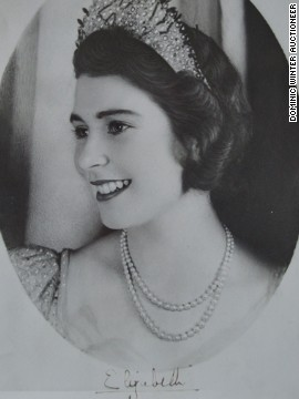 An undated, signed image of Princess Elizabeth is also part of the auction.