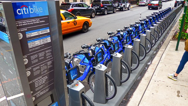 <a href='http://citibikenyc.com/' target='_blank'>NYC's CitiBike system</a> averages 8.3 trips per bike each day and sees 42.7 trips per 1,000 residents on average. Tourists are free to use it.