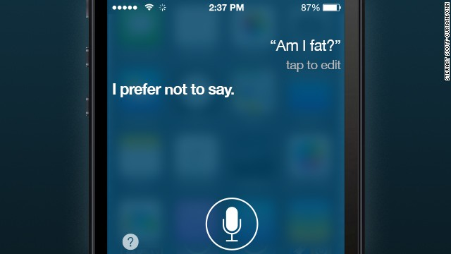 Apple's voice recognition software, called Siri, treats these types of queries as a joke. But soon, technology will deliver highly relevant information based on information gathered about you. If you're overweight, it could let you know.