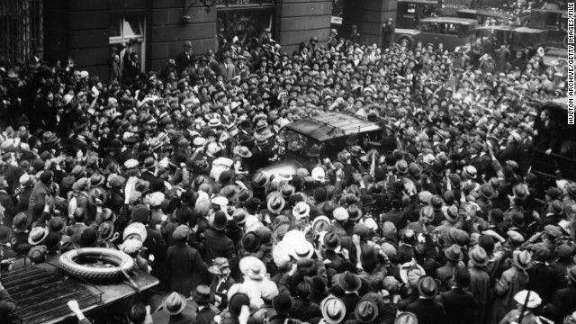 "A huge crowd mobs Chaplin during a visit to London in 1917. ""He was phenomenally successful,"" said Mehran."
