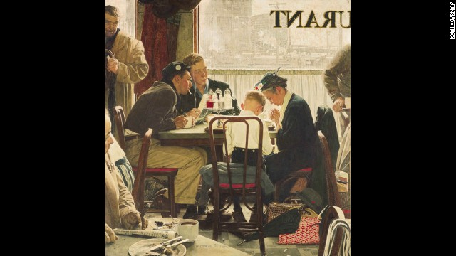 "Norman Rockwell's painting ""Saying Grace"" sold for $46 million on Wednesday, December 4, at Sotheby's American Art auction. It was a record for works by the late artist and for a single American painting. The illustration originally appeared on the Thanksgiving issue cover of The Saturday Evening Post in 1951."