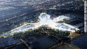 Artist\'s impression of Expo site at night