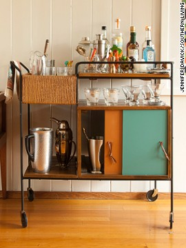 This bar cart, featured in the current issue of Southern Living, has mid-century modern flair.