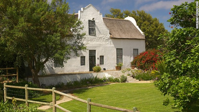 Listed as a national monument, this 18th-century farmhouse is an almost perfectly preserved example of Cape Dutch architecture, down to the original ceilings and fireplaces installed by a former Cape Governor.