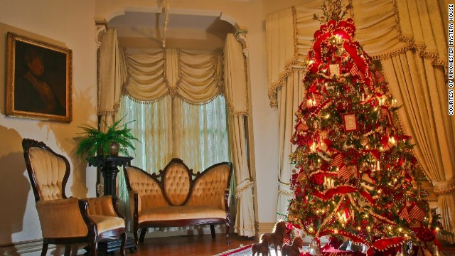Take one of the Winchester Mystery House's daily tours to see more than 20 designer Christmas trees, including this one in the morning room, and other holiday fun.