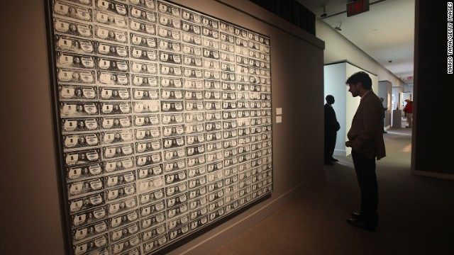 "Warhol's ""200 One Dollar Bills,"" which was bought by a private client in 1986 for $383,000, sold in 2009 for more than 100 times that -- $43.8 million."