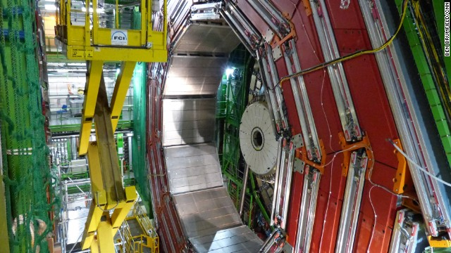 The Higgs boson, the elusive particle that scientists had hoped to find for decades, was detected by two general-purpose experiments at the Large Hadron Collider, as scientists announced in 2012. The Compact Muon Solenoid (CMS) experiment, pictured, is one of them.