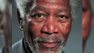 Pintura hiperreal de Morgan Freeman en iPad