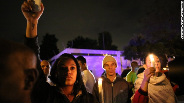 A candlelight vigil is held December 5 outside Mandela's Johannesburg home.