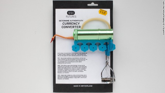 "The Currency Converter emerged from two think tanks reports -- one predicting a world shortage of cocoa, and the other pointing to a rise in new currencies. ""On the street, it's hard to tell if that currency is truly valuable, be it cocoa, or weight reduction surgery coin. This converter can help you accept only the most authentic currency."""