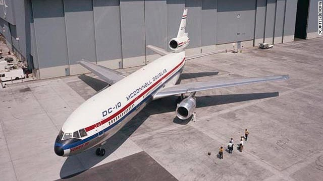 The DC-10 rolled out in Long Beach, California. Its wide cabin gave it a passenger capacity up to 380, depending upon seating configuration.