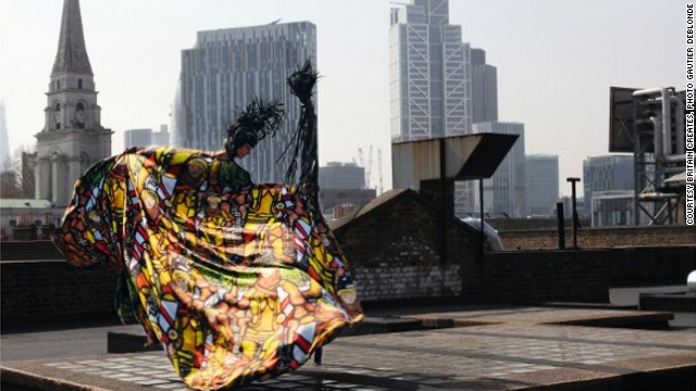 In 2012 designer Giles Deacon and artist Jeremy Deller collaborated on a one-off piece which was displayed at the Victoria & Albert Museum in London. It was part of Britain Creates 2012:Fashion + Art Collusion, an initiative of the Fashion Arts Foundation set up to foster creative links between fashion and art.