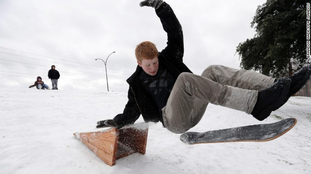 Matthew Eller catches air after sliding down a hill and jumping a ramp in Arlington, Texas, on December 6.