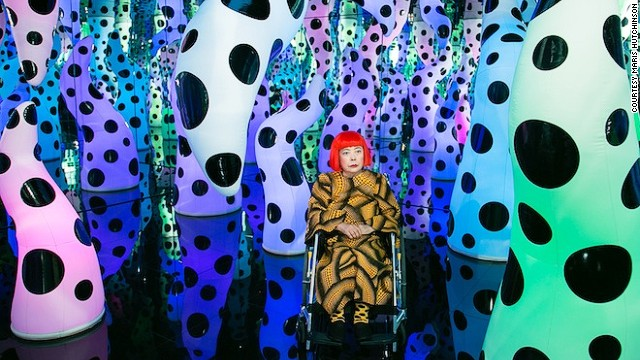 Japanese artist Yayoi Kusama, who has been living in a mental institution since the 1970s, has used her struggle with mental illness as inspiration for her work. Here she is pictured inside her <i>Love Is Calling </i>infinity room.