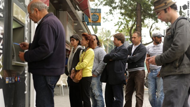 Cypriot residents queued at Laiki Bank -- the country's second largest bank -- to withdraw their savings during Cyprus' financial crisis. The bank ultimately collapsed in March 2013.