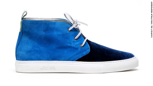 Del Toro, a footwear brand in Miami, has teamed up with Italia Independent to launch an Art Basel Miami pop-up. It includes this cobalt suede shoe with a napa leather heel tab.