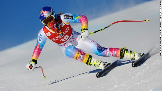 Lindsey Vonn safely negotiated her first run down the Lake Louise course where she has won 14 times.