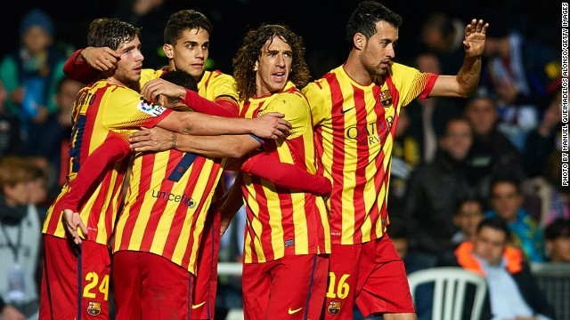 Group hugs for Barcelona as they get back to winning ways in the Spanish cup.