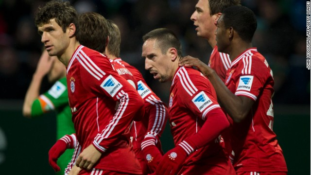 Franck Ribery takes center stage in Bayern Munich's 7-0 rout of Werder Bremen in the Bundesliga.