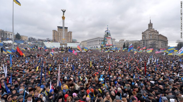 Thousands of protesters gather in Independence Square on December 8.