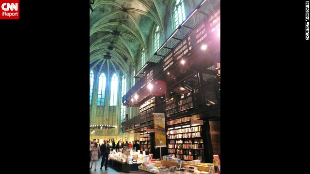 "The Boekhandel Selexyz Dominicanen in Maastricht, Netherlands, is a 13th-century Dominican church that was converted into a bookstore that opened in 2007. It has won architectural awards and is considered by many visitors to be ""the world's coolest bookstore,"" in the words of <a href='http://ireport.cnn.com/docs/DOC-1063487'>iReporter Thai Dang</a>."