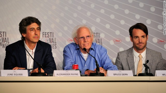 Director Alexander Payne, from left, and actors Bruce Dern and Will Forte speak at the Cannes Film Festival in May.