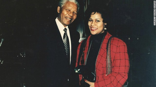 Detroit photojournalist Monica Morgan with Nelson Mandela at the inauguration of President Bill Clinton in 1997.