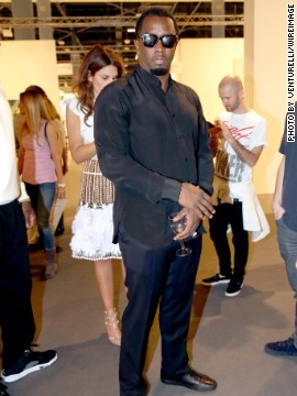 "A regular in Miami, Sean P ""Diddy"" Combs was spotted admiring works by Jeff Koons. In 2012 he reportedly purchased a $65,000 sculpture by Ivan Navarro."