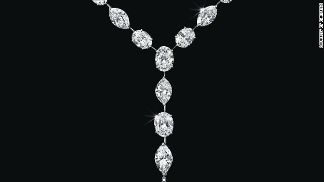 This diamond pendant necklace by Leviev sold for $2.8 million at Christie's 'Magnificent Jewels' auction on December 10. It's a pear-shaped diamond, weighing around 22.12 carats.