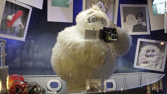"""The Yeti Story,"" Saks Fifth Avenue, New York: Saks unveiled its windows with an elaborate 3-D light show that will be projected onto the store's exterior each evening."