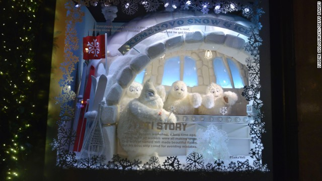 """The Yeti Story,"" Saks Fifth Avenue, New York: This year, the windows at New York's Saks Fifth Avenue tell a Christmas story about the life of a Yeti and how a humble Siberian monster became a snowflake artist in New York City."