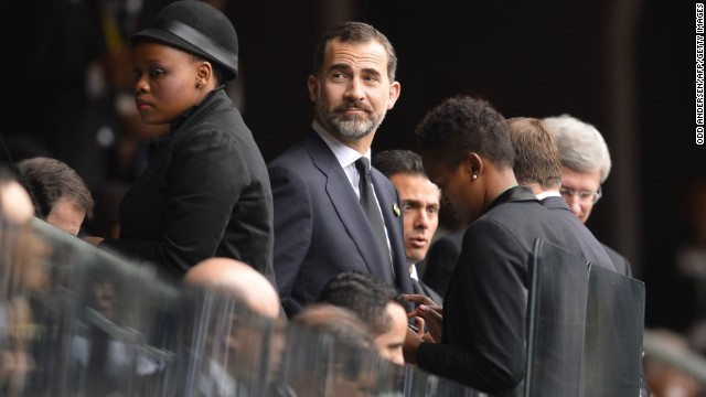 Spain's Prince Felipe arrives at FNB Stadium.