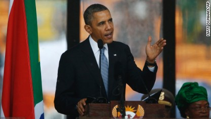 Obama pays tribute at Mandela memorial