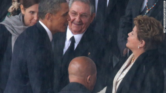 Obama gives warm greeting to Brazilian president