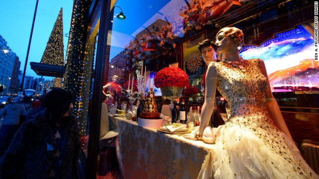 """The Harrods Express,"" Harrods, London: The most stylish socialite on board dons an £80,000 ($131,570) Swarovski-encrusted gown by Ralph & Russo for dinner."