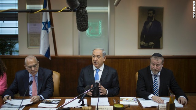The office of Israeli Prime Minister Benjamin Netanyahu, center, said that the short notice made security arrangements difficult and that the high cost of the trip proved prohibitive. A delegation headed by Knesset Speaker Yuli Edelstein is representing Israel.
