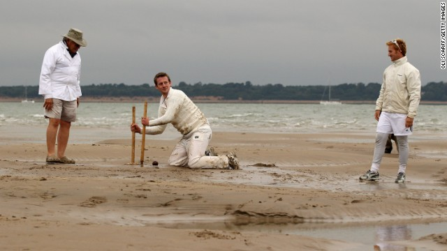 The usual cricketing rules apply, with teams taking turns to bat and bowl -- usually six or seven overs a side. But the cricket whites rarely stay clean for long.